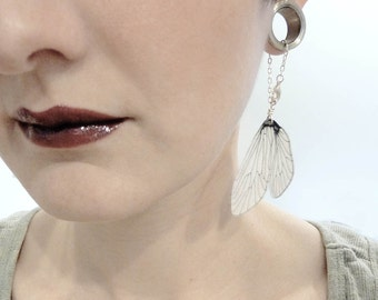 Caddisfly wing dangle earrings for stretched earlobes, tunnels and gauges