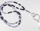 Purple Passion Crystal Bead ID Badge Lanyard