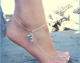 Seahorse Anklet  - A great accessory for your favorite heels / Customizable, Available in  Gold or Silver