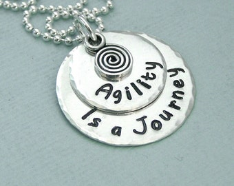 Agility is a journey - Two Disc Stacked Necklace with Spiral Charm - Dog Agility Necklace - Canine Agility Jewelry