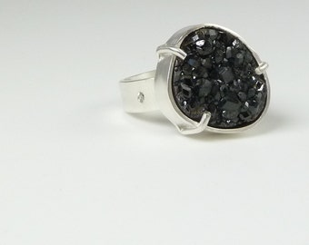 Black Druzy, Raw Crystal Ring, Diamond Ring, Handmade Natural Gemstone Jewelry, Silver Prong Drusy