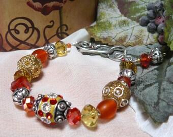 Kashmiri Beaded Bracelet ~ Bollywood Bling Beaded Bracelet ~ Bollywood Bracelet ~ Blingy Orange Bracelet ~ Orange Bracelet ~ Bling Bracelet