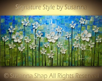 original flowers oil painting blue green large abstract white daisy  modern palette knife fine art by susanna 48x24 ready to hang made2order