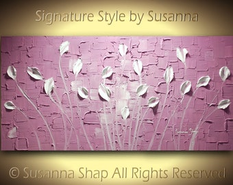 ORIGINAL Modern Abstract Art Purple Lavender White Tulip Flowers Landscape Painting Thick Texture Palette Knife Painting by Susanna 48x24