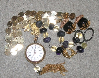 Art Nouveau Antique Victorian Lady Pocket Watch, Brass and Gemstone Necklace