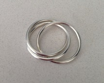 Silver Russian Wedding Ring Trinity Ring Intertwined Ring  Russian Wedding Band