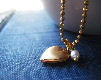 heart necklace, gold locket, vintage heart, tiny heart, brushed finish, freshwater pearl, candies64, Womens jewelry