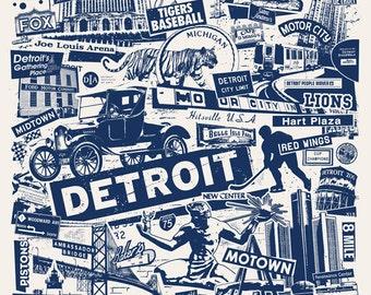 Detroit Michigan Motor City Car Collage Silk Screen Poster - Etsy