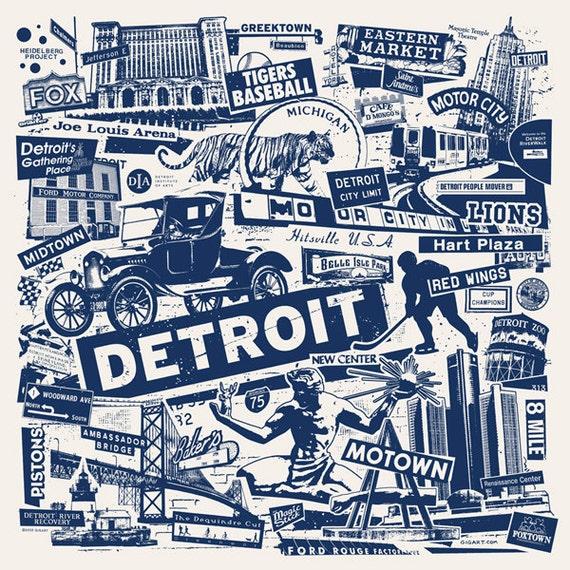 Detroit Michigan Motor City Car Collage Silk Screen Poster