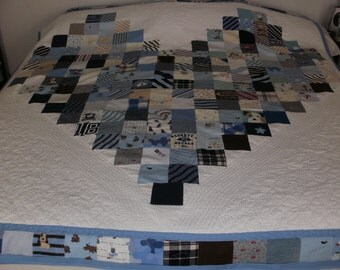 Queen size custom heart quilt
