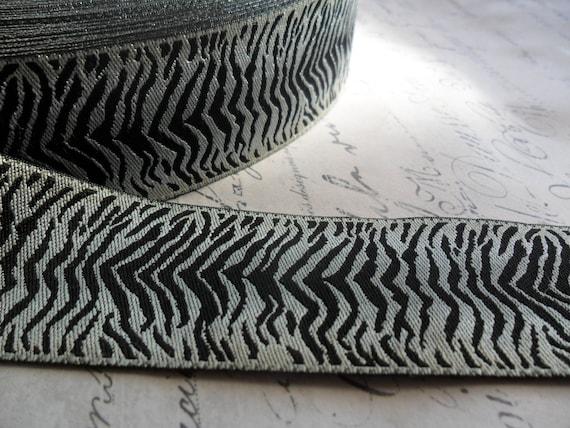Black and white tiger stripe woven 1 1 4 inch ribbon - Tiger stripes black and white ...