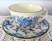 Wood & Sons 'Colonial Rose' Blue Teacup and Saucer Set, Made in England