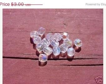 ON SALE Petite Ice Pellet AB Facets Vintage Czech Glass Beads
