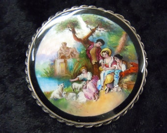 Large handpainted brooch enamel over guilloche with a pastoral scene