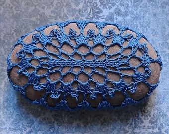 Table Decorations, Crochet Lace Stone, Original, Handmade, Home Decor, Woodland, Folk Art, Blue Thread