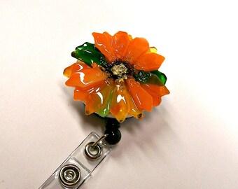 Retractable Badge Holder Fused Glass Orange Flower
