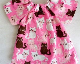 pink cats flannel dress fits 14 - 16 inch Waldorf dolls, natural fiber doll clothing