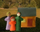 Our Family Home - Handmade Play Set, Soft Felt Family, Felt House, Doll and Doll House, Child Play House, Tooth Fairy Pillow, PDF Downloads