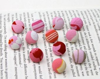Office Supplies - Thumbtacks, Pushpins, Fabric Covered Button  - Pink Mixed Assortment of 12  (d)