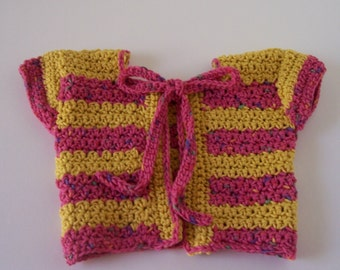 Spring Crocheted Baby Sweater 3-6 Month Old Yellow, Pink with String tie