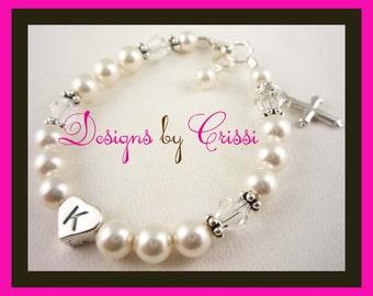 Beautiful pearl, crystal, cross charm Christening Bracelet, Baptism First Communion Bracelet