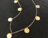 Gold Coin Drop Necklace As Seen on Mackenzie, (The Newsroom) - Floating Dots, Round Discs in Gold Filled or Sterling Silver