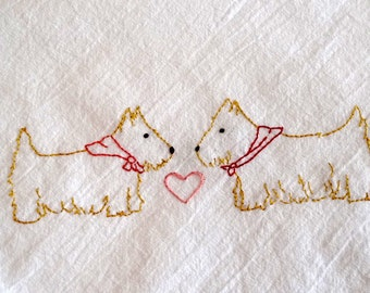 Scottie Dogs Kitchen Towel Hand Embroidery PDF Pattern Valentine's Day
