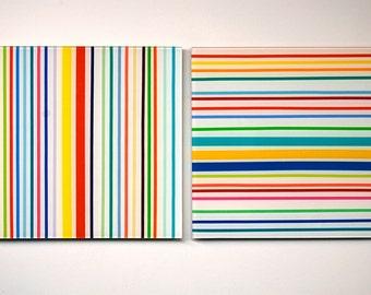 two piece modern stripes wall sculpture