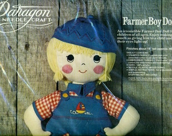 FARMER BOY DOLL 1970s Paragon Doll Kit Sealed in Package Vintage Cloth Doll