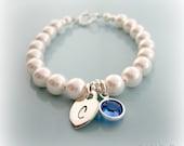 Baby Pearl Bracelet. Personalized Initial Birthstone Pearl Bracelet. Baptism Flower Girl Weddings First Communion