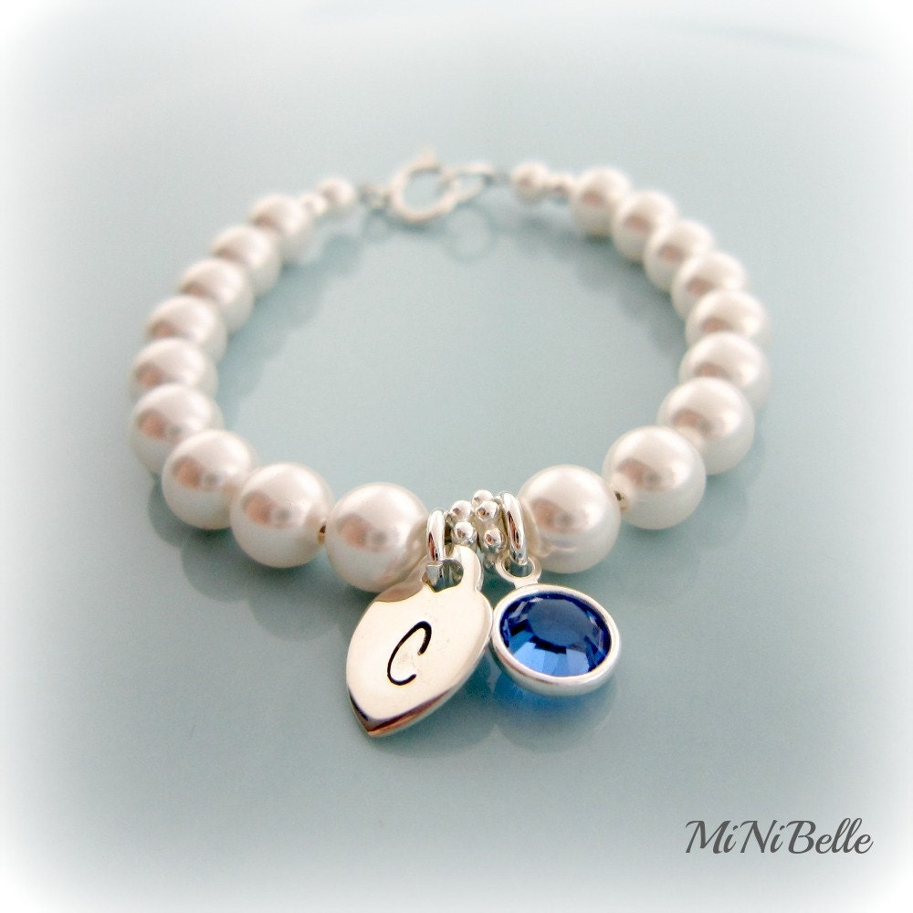 Baby Pearl Bracelet Personalized Initial Birthstone Pearl