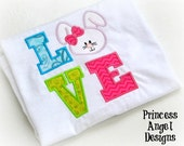 Embroidered Bunny Love Shirt, Easter Shirt, Bow Diamonds, Girls Embrodered Shirt