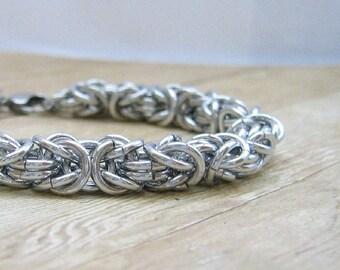 Chunky Chain Maille Bracelet, Byzantine Bracelet, Aluminum Jewelry,  Men's Jewelry, Women's Jewelry, Chain Mail Bracelet