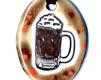 Dark Beer Ceramic Necklace in Spotted Brown