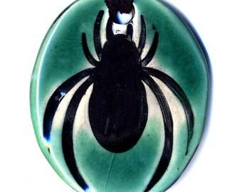 Spider Ceramic Necklace in Aqua Crackle