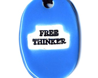 Free Thinker Ceramic Necklace in  Blue