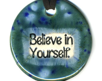 Believe in Yourself a Ceramic Necklace in Blues