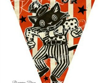 Banner Art Vintage Paper Ephemera Pennant Instant Digital Download Witch Cat Stripe Halloween Primitive Paper Collage 4 Sheet Veenas