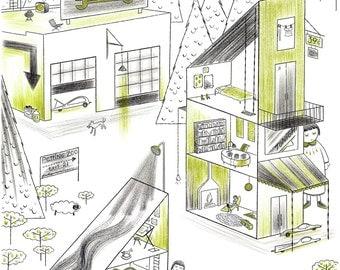 Ideal Neighborhood, art print, 13x19, illustration, dollhouse