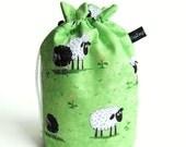 Drawstring Bag, Padded Knitting Project Bag - Sheep on green