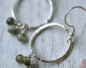 Grey Labradorite and Sterling Silver Earrings - Hammered Circle Hoop Silver Earrings - Gray Silver Earrings, Hammered Silver Earrings