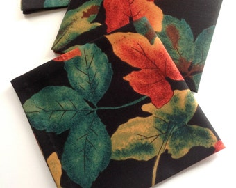 Autumn Leaves Napkins Fall Leaves Napkins Fabric Napkins Eco Friendly Cotton Lunch Dinner Napkins - set of 6
