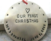 Newlyweds Personalized Ornament, nickel silver, Couples First Christmas, names around edge, gay or straight, 47 character max