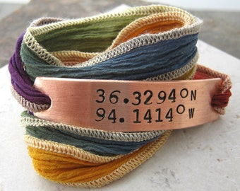 Latitude Longitude Wrap Bracelet, hand dyed silk ribbon in rainbow, choose copper or aluminum metal and gps coordinates, plz read listing