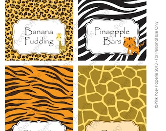 Printable Safari Baby Shower Food Tent Cards