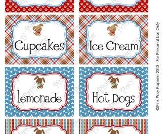 Printable Dog Gone Cute Birthday Food Labels