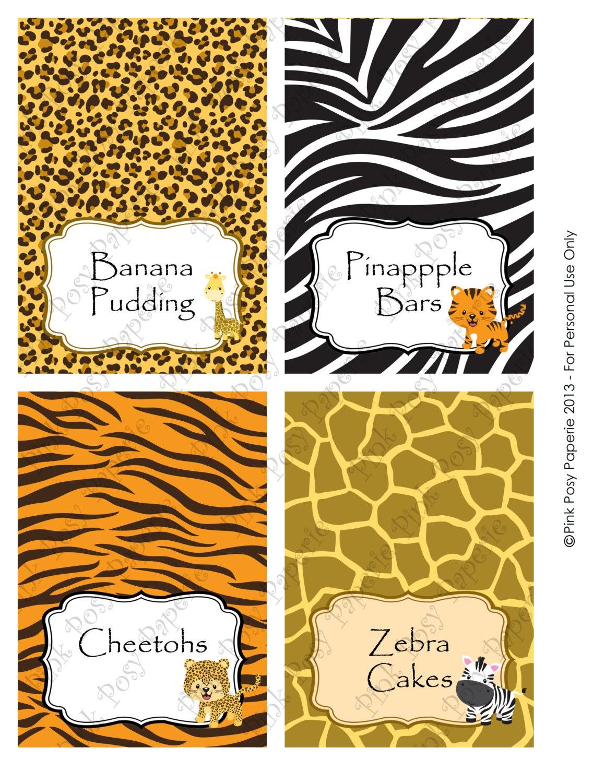 Printable safari baby shower food tent cards for Printable tent card