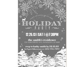 Custom Modern Rustic Retro Christmas HOLIDAY Party Invitation Invite Digital Design - Snowflakes / Tree / Deer / Let It Snow - Printable