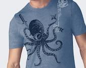 Men's Blue Heather Ninja Octopus tee