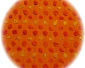 Vintage Chenille Bedspread Fat Quarter Quilt Square Fabric 18x24 Morgan Jones Orange Circus Pops Orange Background with 3 color POPs